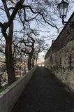 Road running along the ramparts. In Prague Royalty Free Stock Photos