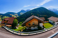 The road that runs through the town in the mountains. Royalty Free Stock Photography