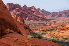 A road runs through it in the Valley of Fire State Park, Nevada, USA.  Stock Photos
