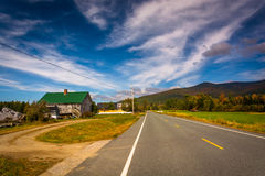 Road in rural Jefferson, New Hampshire. Royalty Free Stock Photos