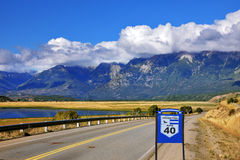 The road  Ruta 40 is laid parallel to the Andes Royalty Free Stock Photo