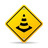 Road safety cone vector sign. Isolated on white background stock illustration