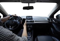 Road safety. Driving and using the cell phone royalty free stock images