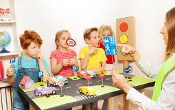Road safety lesson in the kindergarten Royalty Free Stock Photos