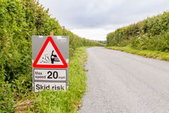 Road Safety Sign for Skid Risk Stock Images