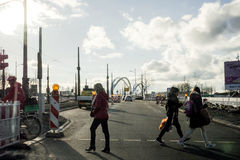 Road safety woith pedestrians crossing German intersection Royalty Free Stock Photos