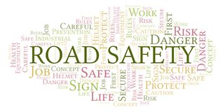 Road Safety word cloud. Word cloud made with text only stock illustration