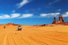 Road in Sahara Desert. Tadrart, Algeria Stock Photography