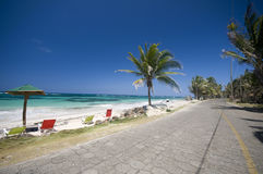 Road sallie peachie beach corn island nicaragua. The seaside malecon highway next to sallie peachie beach on the caribbean sea big corn island nicaragua central Stock Photography