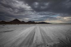 Road in salt desert Stock Photo