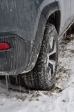 Winter road dirt and grime on vehicle Stock Images