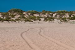 Road in the sand Royalty Free Stock Images