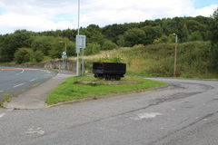 Road scape of road bus turnaround and old coal Truck Treeton Rotherham Stock Photography