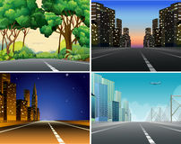 Road scene. Set of four scenes of roads Royalty Free Stock Photography