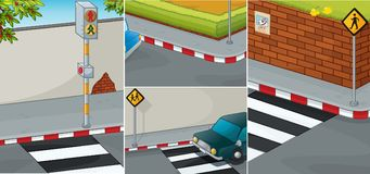 Road scenes with zebra crossing. Illustration Royalty Free Stock Images