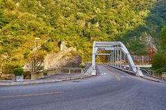 Road scenic with Tianxiang bridge by recreation area in Taroko national park. In Hualien city, Taiwan stock images