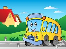 Road with school bus 2 Royalty Free Stock Images