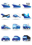 Road, sea and space transport. Icons set -  illustration Royalty Free Stock Photography