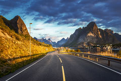 Road by the sea in sunrise time,  Lofoten island, Norway Stock Image