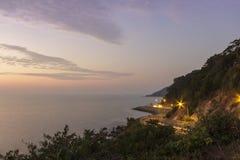 Road beside the sea in sunset ,Nang Phaya View Point ,Chanthabur Stock Photos