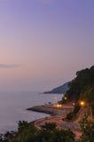 Road beside the sea in sunset ,Nang Phaya View Point ,Chanthabur Stock Photo