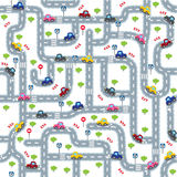 Road seamless pattern with funny cars Stock Image