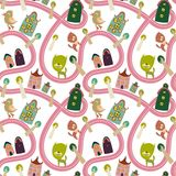 Road seamless pattern with houses and animals. Cute seamless pattern with road, houses and animals Stock Images
