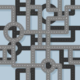 Road seamless pattern. Map Highway background. Endless road high Stock Images