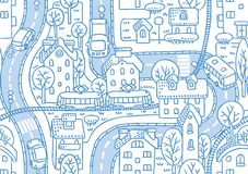 Road seamless pattern. Seamless vector background pattern with streets, tailway, houses and trees Stock Photo