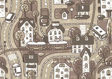 Road seamless pattern. Seamless vector background pattern with streets, tram rails, roads, houses and trees Royalty Free Stock Image