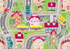 Road seamless pattern. Seamless vector background pattern with streets, tram rails, roads, houses and trees Stock Photos