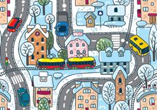 Road seamless pattern. Winter. Seamless vector background winter pattern with streets, railway, houses and trees Stock Image