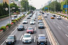 Road section near the metro station Dongzhimen in Beijing, the capital of China stock photography