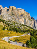 Road through the Sella Pass royalty free stock photo