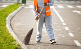 Road Series: Sweeping on the street Royalty Free Stock Photography