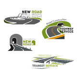Road service, bridge or tunneling vector icons stock illustration