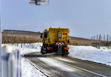 Road service car on winter trace Royalty Free Stock Images