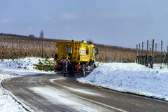 Road service car on winter trace Royalty Free Stock Photo