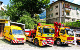 Road service trucks Stock Photo