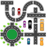Road set for designing traffic intersections. The intersections of various roads. Roundabout Circulation. Transport Stock Photo