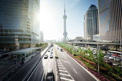 Road in shanghai lujiazui center Royalty Free Stock Photos