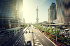 Road in shanghai lujiazui center Royalty Free Stock Photography