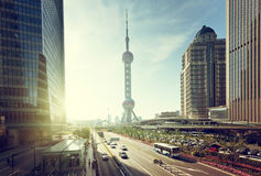 Road in shanghai lujiazui center Royalty Free Stock Image