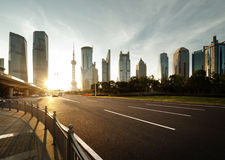 Road in shanghai lujiazui center Stock Photography