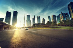 Road in shanghai lujiazui financial. Center Royalty Free Stock Photography