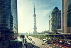 Road in shanghai lujiazui financial center Stock Image