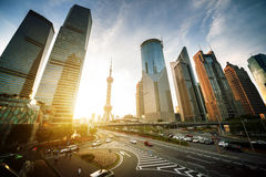 Road in Shanghai lujiazui financial center Royalty Free Stock Photography