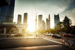 Road in Shanghai lujiazui financial center Royalty Free Stock Photo