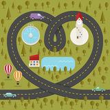 Road in the shape of heart vector illustration