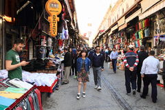 Road with shops by Grand Bazaar in Istanbul Royalty Free Stock Photos
